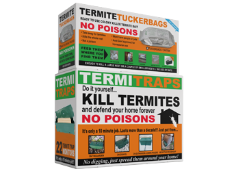2 boxes piled up together namely TermiteTuckerbags and TermiTraps which are the termite kits made by Termikill Australia.