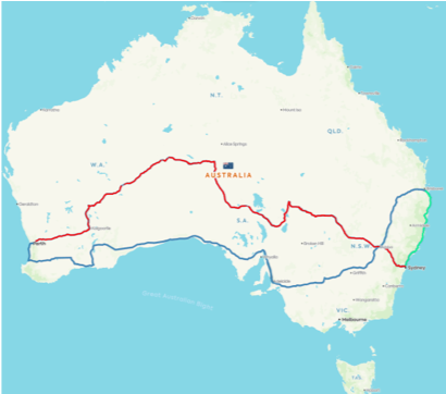 Map of Australia with red and blue lines which is used as the map to raise fund for Cancer Council of Australia.