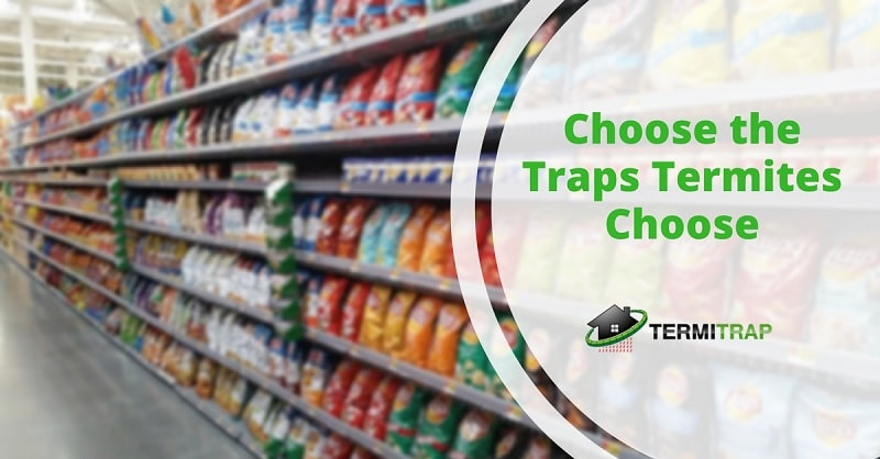 """Image header that says """"Choose the Traps Termites Choose"""", with a background of a grocery store."""