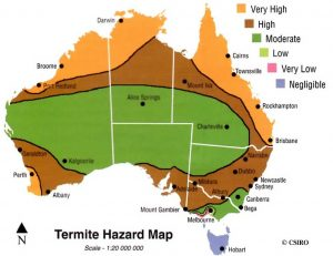 A termite hazard map around a part of Australia recorded by CSIRO.