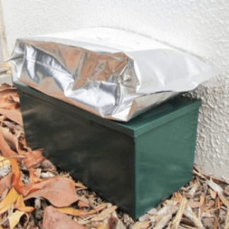 The bottom view of green termite trap box setup.