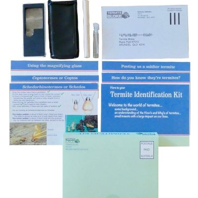 Closed-up of termite identification kit full set.