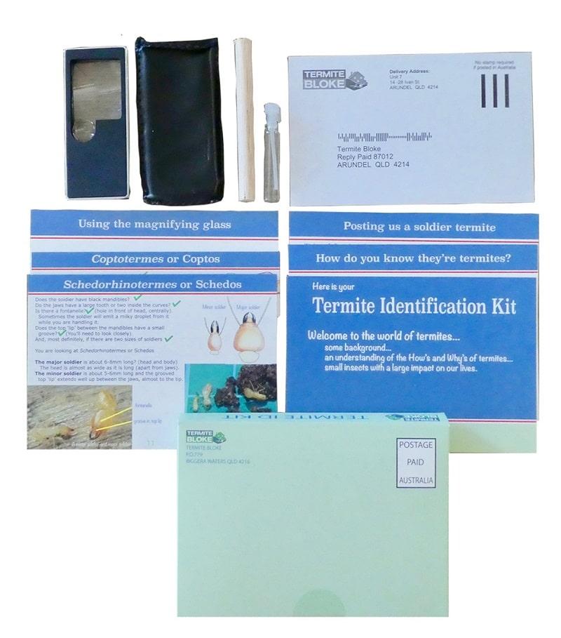 Closed-up of termite identification kit full set.