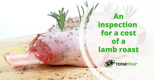 """Image header that says """"An inspection for a cost of a lamb roast"""", with a background of lamb meat with grass on top."""