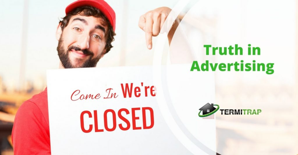 """Image header that says """"Truth in Advertising"""" with a man carrying a signage that represents the """"truth in advertising"""" blog."""