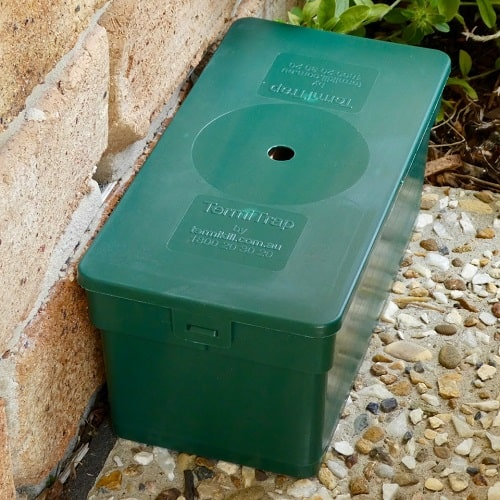 A green colored termite trap and as the featured image of