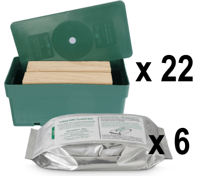 A green plastic box of a Termite Trap Package (x22) and a Termite Tuckerbag (x6) as the Complete Termite System Package.