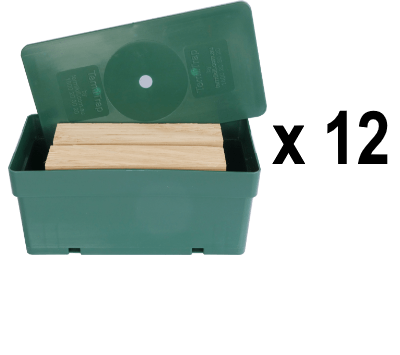 A green plastic box of a termite trap package (x12) as the Special termite traps and monitors.